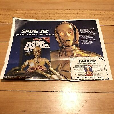 Rare 1984 Star Wars C-3PO's Kellogg's Cereal Coupon C3pos Advertisement