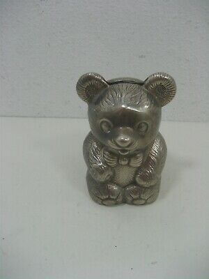 Vintage Leonard Silver Plated Metal Teddy Bear Piggy Bank Intricate Details