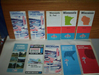 Lot of 11 Standard Oil American Oil Gas Company Road Maps : US States & Cities