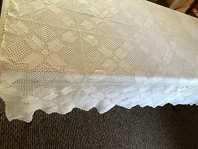 "Vintage Crochet OBLONG RECTANGLE Tablecloth 58 X 69"" SQUARE MOTIFS-white thread"