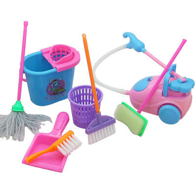 9pcs Play House Cleaning Tools Set for Young Children Kids Pretend Role-play Toy