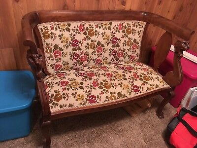 Antique CARVED WOOD LION HEAD Fancy Bench Furniture Chair Old Beautiful Floral