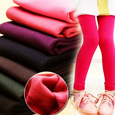 Kids Girls Cotton Thick Fleece Leggings Stretchy Casual School Trousers Pants