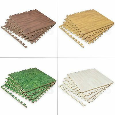 XL Wood Grass EVA Foam Floor Interlocking Gym Play Home Workout Soft Tiles Mats