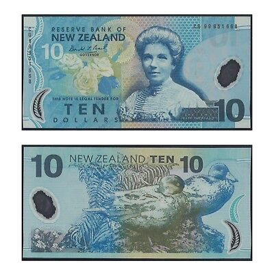 New Zealand Ten Dollars $10 Polymer Banknote UNC  #8