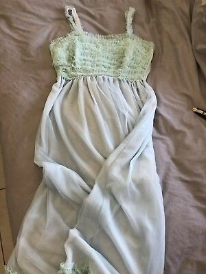 Vintage Full-Length Lilion Nightgown - Size 4 - Baby blue and pale green