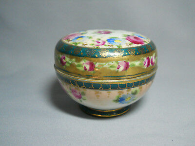 Vintage Antique Hand Painted Nippon Lidded Trinket Box or Dresser Powder Dish