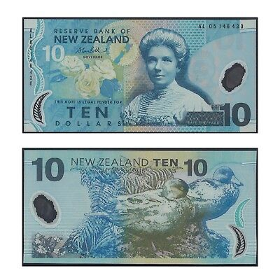 2005 New Zealand Ten Dollars $10 Polymer Banknote UNC Prefix AL05 #11