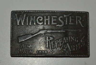Vintage 1970s WINCHESTER Repeating Arms Rifles GUNS New Haven Conn Belt Buckle