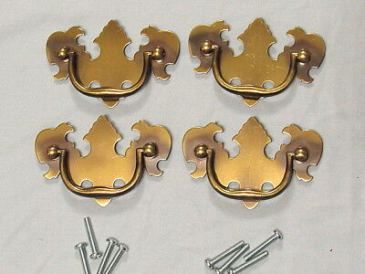 "4 Vintage Brass Chippendale Style Drawer Pulls 2 1/2"" Center To Center NOS"