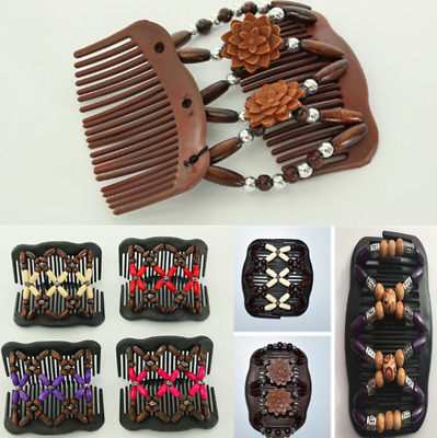 Magic Wooden Comb Stretchy Double Clips Hair Slide Comb Double Slide Clip UK