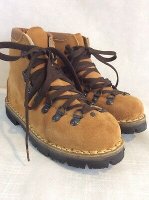 1355aac416 ITALIAN Brown SUEDE Leather VIBRAM Mountaineering HIKING Boots 6 Wide New  TRAIL