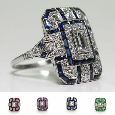 Women Fashion Large 925 Sterling Silver Sapphire Diamond Ring Antique Art Deco