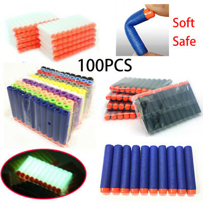100PCS Soft Darts Round Head Bullets Blaster For Nerf N-strike Toy Gun 8 color