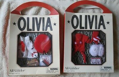 WOW Madame Alexander 2002 Artist Olivia The Pig + Bedtime Olivia Outfit for Doll