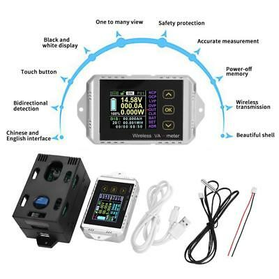 Wireless DC 0~400V 0~300A Voltage Current Watt Power Capacity LCD Combo Meter