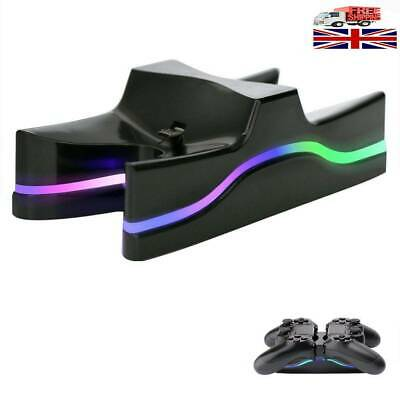 LED Dual Charger Station Charging Stand Dock 4 Controller for PS4 Playstation UK