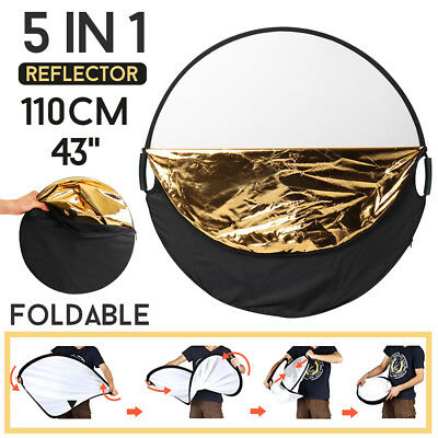 110Cm 5In1 Photography Studio Collapsible Light Reflector & Handle Grip