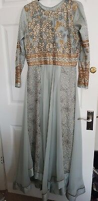 Anarkali party dress Size 8-10. Stitched Grey/light Blue