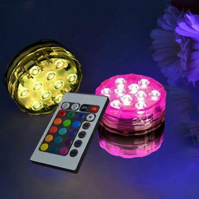2x Submersible LED Under Water Lights Remote Control Pool Fountain Swimming Lamp