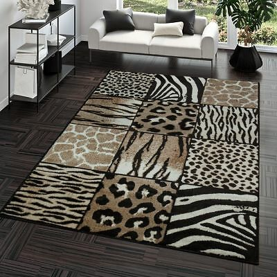 TAPIS DE SALON Moderne Motif Animal Design Patchwork Poils Ras En ...