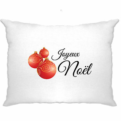 French Christmas Pillow Case Joyeux Noël Baubles Slogan Xmas Santa Winter