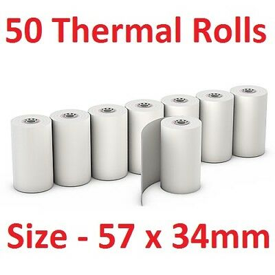 50 Bulk Thermal Rolls EFTPOS Receipt Paper Docket Cash Register Small 57 x 34mm