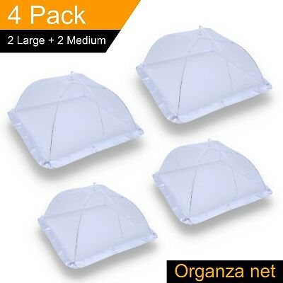 (4 Pack) Mesh Food Covers, 100% Organza Net Pop-Up Tent for BBQ Picnic Outdoor