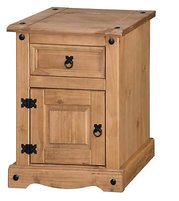 Corona Large Pot Bedside 1 Door 1 Drawer Table Cabinet Pine by Mercers Furniture