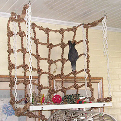 For Pet Parrot Bird Climbing Net Cage Toy Swing Hanging Rope Macaw Play Gym Game
