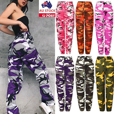 Women Camouflage Pants Casual Loose Sports Yoga Dance Camo Army Cargo Trousers