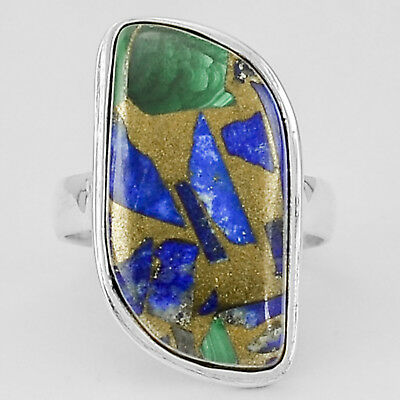 Malachite Lapis Copper  925 Sterling Silver Plated Ring Jewelry s.7.5 MR02020