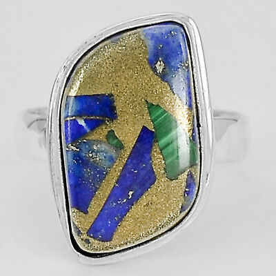 Malachite Lapis Copper  925 Sterling Silver Plated Ring Jewelry s.9 MR02025
