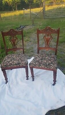 Pair Original George III Mahogany Chippendale Style Dining, Salon, Bedroom Chair