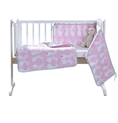 Brand new in pack Clair de lune Rabbits crib quilt & bumper bedding set in pink