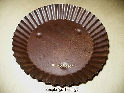 "Rusty Candle Pan Tray Fluted 3 3//8/"" Wide Primitive Rustic for Pillar Jar Candle"