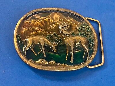 Vintage Indiana Metal Craft Deer in Beautiful Nature scene Belt Buckle