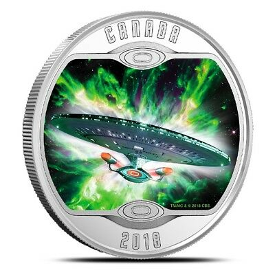 2018 Canada $10 1/2 oz .9999 Silver Star Trek™ Glow-in-the-Dark Coin - With OGP