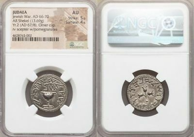 JUDAEA. The Jewish War (AD 66-70). AR shekel (23mm, 13.69 gm, 12h). NGC AU