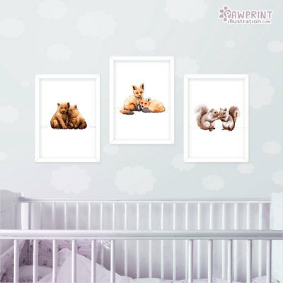 Twin Woodland Animal Print Set Of 3 | Nursery Decor Baby Shower Gift | Unframed