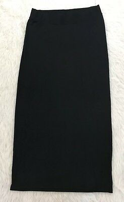 NWT LIZ LANGE Womens Maternity Maxi Skirt Small Black Rayon Stretch Elastic