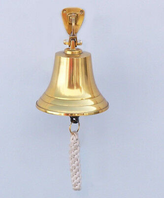 "Brass Plated Solid Aluminum Ship's Bell 4"" Nautical Hanging Wall Decor New"