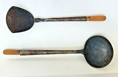 Antique Vintage Hand Forged Ladle And Spatula Over 100 Years Old Primitive