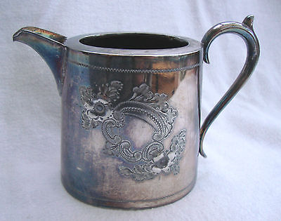 ANTIQUE 19thC VICTORIAN OVAL SHEFFIELD SILVER PLATE EPBM ENGRAVED MILK JUG CREAM