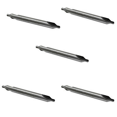 5 Pc HSS No.2 Center Drill 60 Degree Combined Countersink Bits Drilling