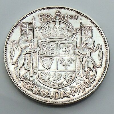 1950 Full Design Canada 50 Fifty Cents Half Dollar Lustrous Circulated Coin G496