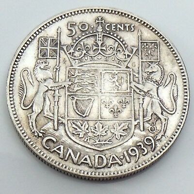 1939 Canada 50 Fifty Cent Half Dollar Canadian King George Circulated Coin G498