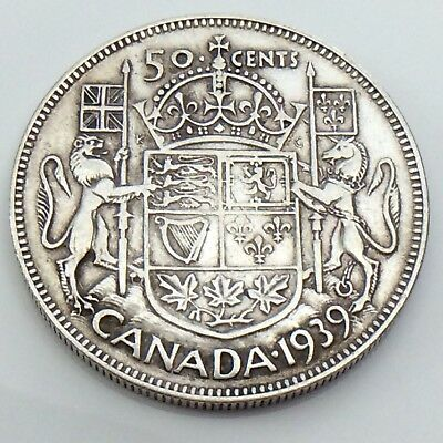 1939 Canada 50 Fifty Cent Half Dollar Canadian King George Circulated Coin G500