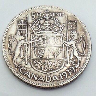 1939 Canada 50 Fifty Cent Half Dollar Canadian King George Circulated Coin G501