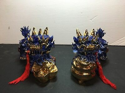 Chinese Pair Ceramic Foo Dog Blue Gold Figurine Stunning! Lion Statue